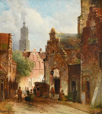 Lot 403 - D Pols (19th century) Dutch  Street scene with figures returning from market Signed, oil on...