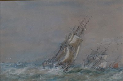 Lot 404 - Sir Oswald Brierly RWS (1817-1894) Sailed, masted ships in a squall Signed and indistinctly...