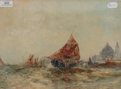 Lot 405 - Circle of Stephen Frank Wasley (1848-1934) Shipping vessels in the Venetian lagoon Oil on...