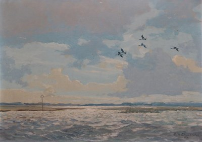 Lot 406 - Keith Shackleton MBE (1923-2015) ''Widgeon over Bosham'' Signed and dated (19)52, oil on canvas...
