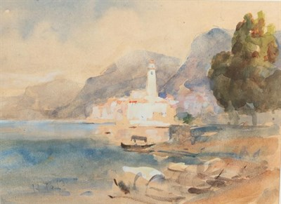 Lot 407 - Hercules Brabazon Brabazon (1821-1906) Mediterranean coastal town with boats moored at an inlet...