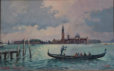 Lot 408 - Robin Furness (b.1933) ''Early Morning Commuters, Venice''  Signed and dated (19)99, oil on...