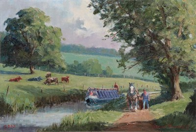 Lot 409 - Robin Furness (b.1933) ''The Barge Horse'' - Tiverton Canal, Devon  Signed and dated 2010, oil...