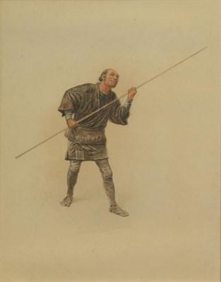 Lot 410 - Circle of Jirokichi Kasagi (1870 - 1923) Japanese Wolf hunting Figure with staff Indistinctly...