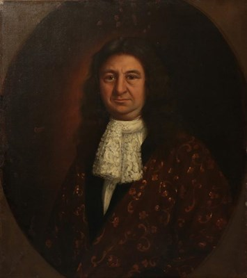 Lot 411 - Follower of Mary Beale (1633-1699)  Portrait of a gentleman wearing a white ruff and a red...