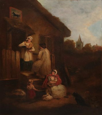 Lot 412 - After George Morland (1763-1804) Travellers being given sustenance outside a tavern  Bears...