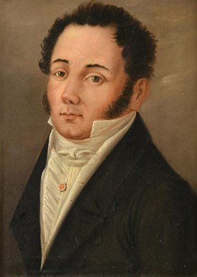 Lot 413 - French School (19th century) Portrait of a Gentleman, head and shoulders, wearing a white...