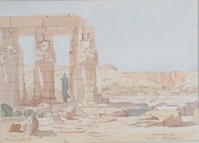 Lot 414 - William Graham Elphinstone (1886-1952) The Great Colossus of Memnon at Thebes Signed, inscribed and