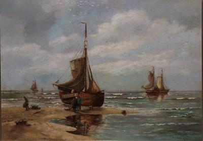 Lot 415 - Hans Wacker-Elsen (1868-1958) German  Shipping scene with figure unloading the day's catch...