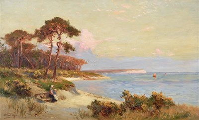 Lot 416 - Walter Stuart Lloyd (1875-1929)  A mother and child awaiting the boat's return Signed, oil on...