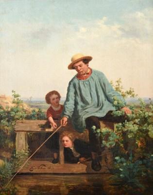 Lot 417 - Henri van Seben (1825-1913) Belgian  The fisherman's apprentice   Signed and dated (18)58, oil...