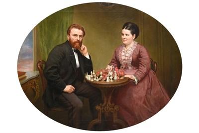 Lot 418 - Edmund Swift Jnr. (19th century)  Portrait of Joseph Carus White and his wife Maria Harriet...