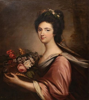 Lot 419 - British School (19th century) Portrait of Mrs Campbell of Shaw holding a basket of flowers Oil...