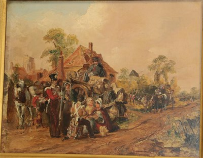 Lot 420 - Circle of William Powell Frith (1819-1909) A military regiment stopping in a village Oil on...