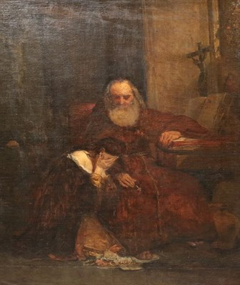 Lot 422 - English School (19th century) A lady despairing before a monk in a church interior, jewels at...