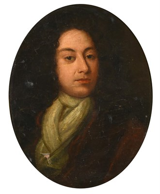 Lot 423 - Follower of Sir Godfrey Kneller (1646-1723) Portrait of a gentleman in a white stock and red jacket