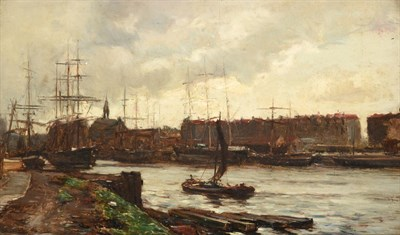 Lot 425 - James Campbell Noble RSA (1846-1913) ''***Bristol Harbour''  Signed and indistinctly dated,...