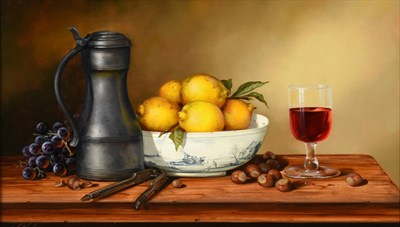 Lot 428 - Paul Wilson (b.1945) ''Pewter and Fruit'' Signed, oil on board, 33cm by 58.5cm  Provenance: Spencer