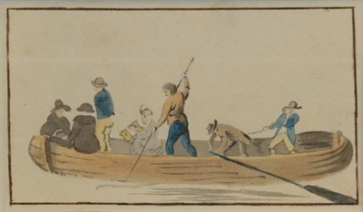 Lot 430 - Circle of Samuel Scott (1702-1772) Figures in a river ferry Watercolour, together with a...