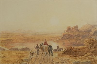 Lot 431 - Attributed to George Barrett OWS (1767-1842) Landscape at sunset, travellers and classical...