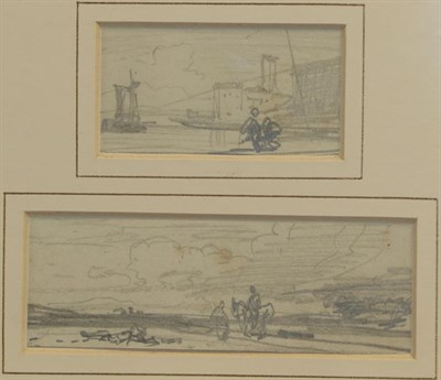 Lot 432 - William Leighton Leitch RI (1804-1883) Landscape with sunrise and windmill Watercolour,...