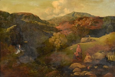 Lot 440 - William Gillard (1812-1876) Country children pausing by a riverside Signed, oil on canvas, 41cm...