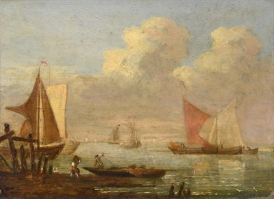 Lot 442 - Circle of Johannes Hermanus Koekkoek (1778-1851) Figures loading a barge with other shipping beyond