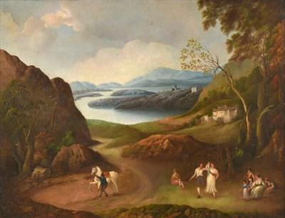 Lot 444 - Follower of Jacob Philip Hackert (1737-1807)  Figures in an extensive Lakeland landscape Oil on...