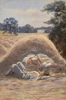 Lot 446 - James Hayllar (1829-1920) Two children asleep in a hay bale before a country house Signed and dated