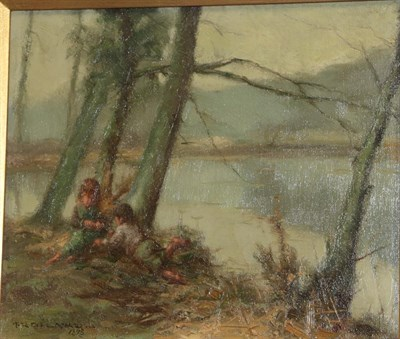 Lot 447 - F R Gélard (late 19th century) French Children at rest by a lakeside Signed and dated 1898, oil on