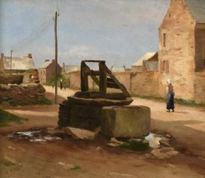 Lot 448 - Jean Eugène Julien Massé (1856-1950) French ''Le puits'' Signed, oil on canvas, 27.5cm by 32cm