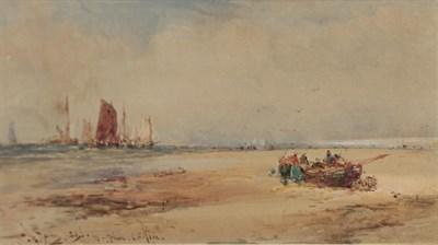 Lot 451 - Thomas Bush Hardy RBA (1842-1897) Beached shipping vessel and fisherfolk on a shoreline Signed,...