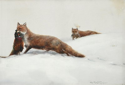 Lot 452 - Charles Whymper (1853-1941) Foxes in the snow with their kill Signed, oil on canvas, 39cm by 59cm