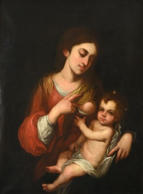 Lot 454 - Spanish School (20th century) Madonna and Child Oil on canvas, 96cm by 72cm