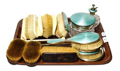 Lot 6 - Silver and enamel dressing table items, tortoiseshell dressing table items, and 1920's ivory...