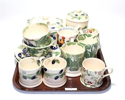 Lot 8 - A group of Emma Bridgewater pottery including mugs, cups and saucers, jar and cover, butter box and