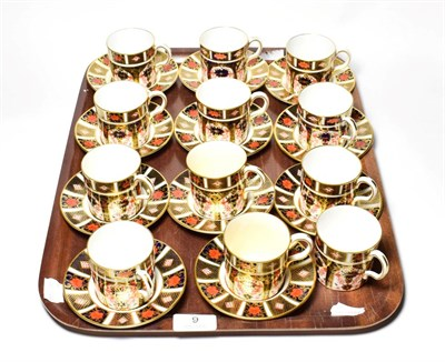 Lot 9 - Twelve Royal Crown Derby Imari coffee cans and eleven saucers (23)