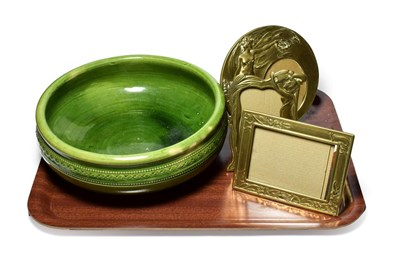 Lot 11 - Three Art Nouveau style frames and a Clarence pottery Stockton-on-Tees green glazed bowl