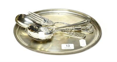 Lot 13 - A George V silver dressing-table tray, by Synyer and Beddoes, Birmingham, 1924, oval and...