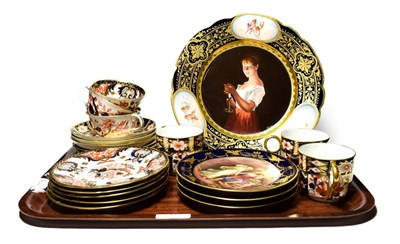 Lot 17 - A Vienna porcelain cabinet plate, titled ''Gute Nacht'', three Vienna porcelain side plates,...