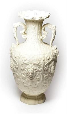 Lot 19 - A Copeland Parian twin-handled vase. Printed mark, 38cm.