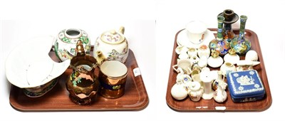 Lot 25 - Miscellaneous pottery and porcelain including crested souvenir wares, Gouda pottery, lustre...