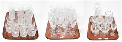 Lot 26 - A selection of cut glass comprising wines, champagnes, cordial, tumblers, sherry, brandy, jug and a