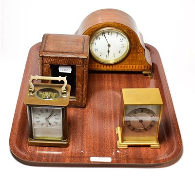 Lot 37 - A brass carriage timepiece with fitted travelling case, inlaid mantel timepiece and a brass...