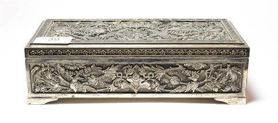Lot 39 - A silver plate dressing-table box, in the Persian or Indian style, oblong, the cover and sides with