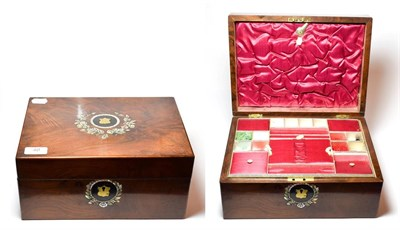 Lot 40 - A Victorian walnut work box inlaid with mother-of-pearl