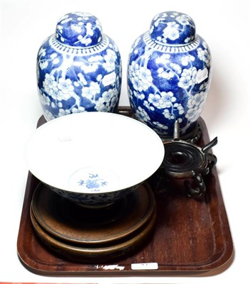 Lot 41 - A pair of Chinese blue and white ginger jars and covers decorated in underglaze blue with...
