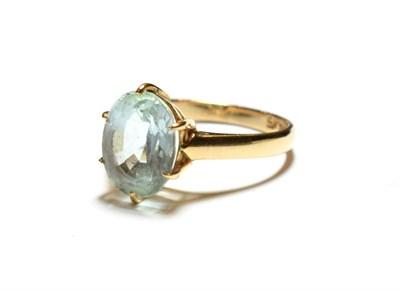 Lot 47 - A blue topaz ring, stamped '9K', finger size Q