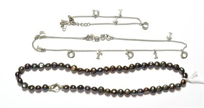Lot 50 - A simulated pearl necklace, stamped '925', length 42.3cm; and a plated necklace and bracelet suite