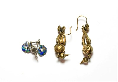 Lot 52 - A pair of enamel drop earrings, unmarked, with screw fittings; and a further pair of drop earrings
